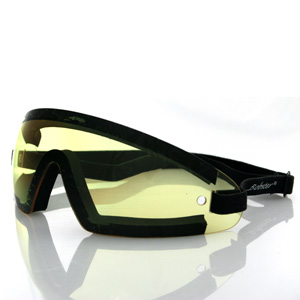 Zan Headgear BW201Y Wrap Around Goggle  Black Frame  Yellow Lens
