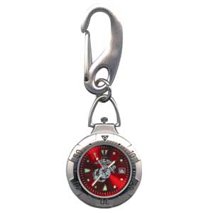Military Belts - Zan Headgear RAMWVB36 Belt Watch Chrome Military US Marine Logo Red Face