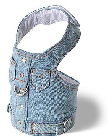 Denim Jackets - Doggles DOHAVJTC-04 Harness Vest - Denim Teacup Harness Blue Jean Jacket