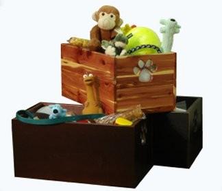 Dynamic Accents 42137 Pet Toy Box - Mahogany Poplar Hardwood
