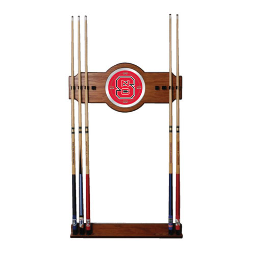 North Carolina State 2 piece Wood and Mirror Wall Cue Rack
