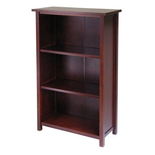 Winsome  94328 4-Tier Medium Beechwood Storage Shelf or Bookcase - Antique Walnut