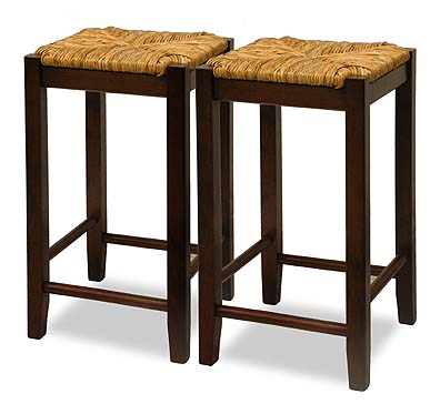 Winsome  94770 Rush Seat  29 Inch Beechwood Stool - Antique Walnut - Set of 2 WNSM030