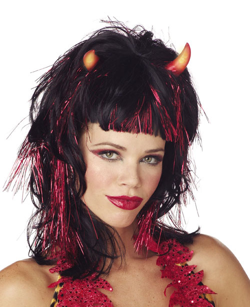 Devil Costumes - Costumes For All Occasions MR171003 Wig Demonica Devil Blk Red