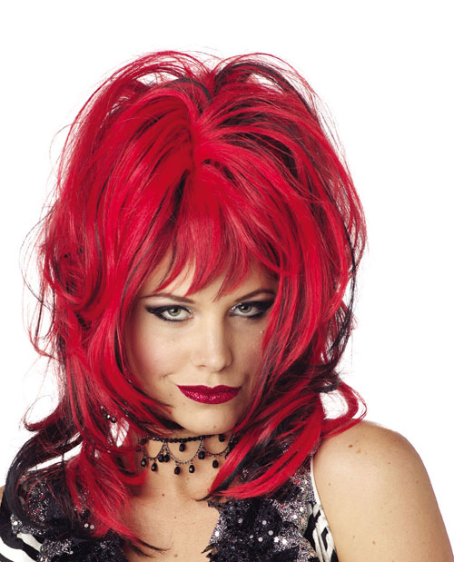 Costumes For All Occasions MR177014 Wig Hard Rockin Witch Blk Red