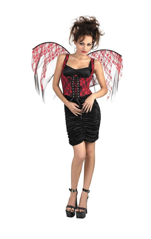 Costumes For All Occasions DG14531 Wings Red Lace Black Corset
