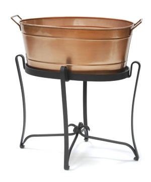 Achla Designs C-81C Copper Plated Oval Tub with Wrought Iron Handles