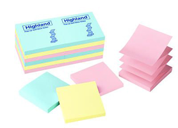 3M Company MMM6549PUA Highland Pop-Up Notes 3 X 3 Asted Pastel 12 Pads
