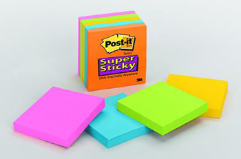 3M Company MMM6545SSAN Post-It Notes Super Sticky Neon Fusion Colors 3 X 3 5 Pads