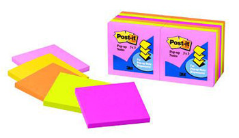 3M Company MMMR33012AN Post-It Note Pop-Up Refills Neon Colors