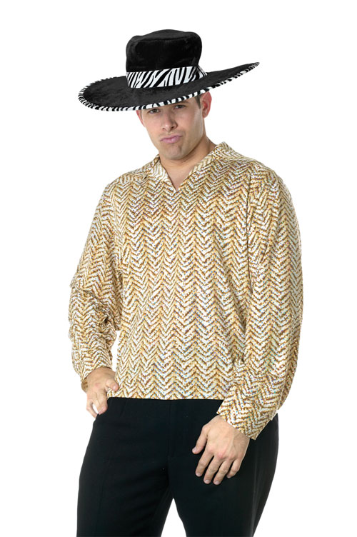 Pimp Costume - Costumes For All Occasions FW118394GD Pimp Shirt Gold