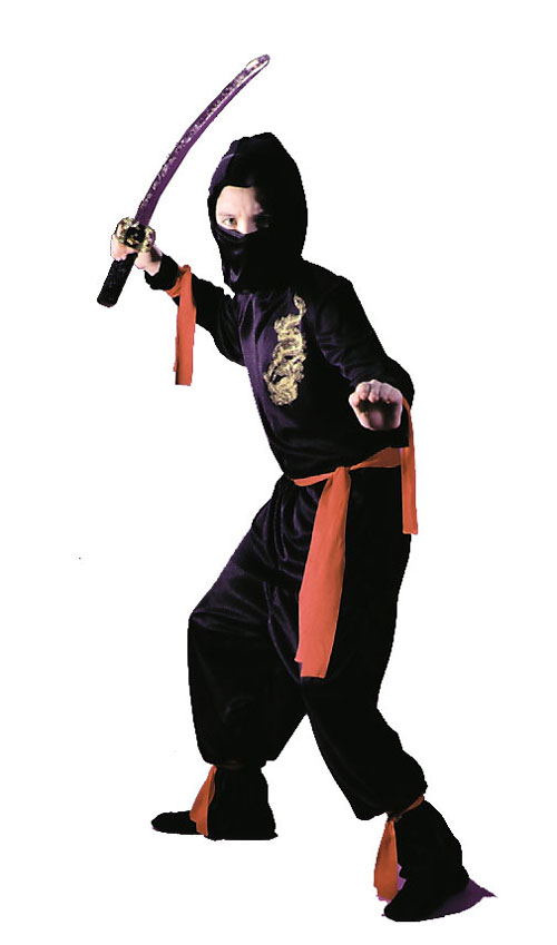 Ninja Costumes - Costumes For All Occasions FW8707LG Black Ninja Child Large