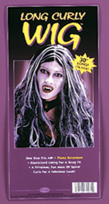 Costumes For All Occasions FW9231BW Wig 30In Curly Vamp Blk Wht