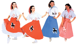 Poodle Skirt Costumes - Costumes For All Occasions AC252RD Poodle Skirt Red 1 Size Adult