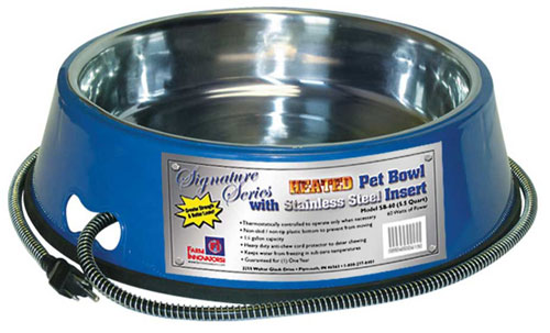 Farm Innovators Heated Stainless Pet Bowl Blue 5.5 Quart - SB-60