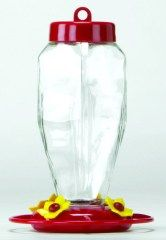 Glass Hummingbird Feeder Red - 3918