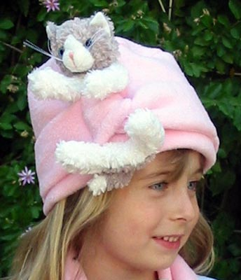 Cat And The Hat - Bear Hands FHT-GWC-PP S Hat Fleece Grey And White Cat On Pink - S