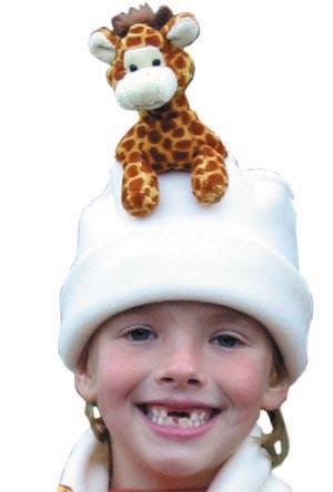 Fleece Hats - Bear Hands FHS-GIR-CRM M Hat Fleece Giraffe On Cream - M