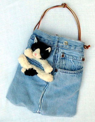 Cat Purse - Bear Hands SP-DEN-BWC Small Jean Denim Purse Black And White Cat