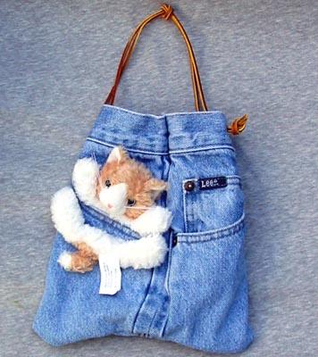 Cat Purses - Bear Hands SP-DEN-CAT Small Jean Denim Purse Cat