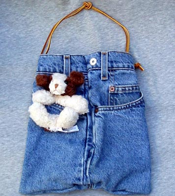 Dog Purses - Bear Hands SP-DEN-Dog Small Jean Denim Purse Dog