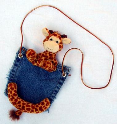 Denim Purses - Bear Hands PP-DEN-GIR Pocket Purse Denim Giraffe