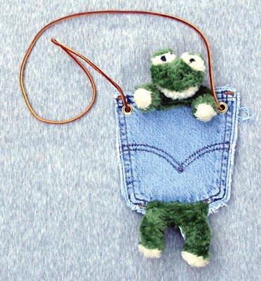 Denim Purses - Bear Hands PP-DEN-Frog Pocket Purse Denim Frog