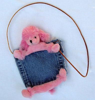 Denim Purses - Bear Hands PP-DEN-PP Pocket Purse Denim Pink Poodle