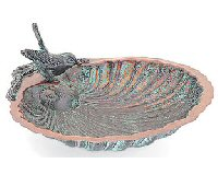 Achla ACHLABBM01 Antique Brass Designs Scallop Shell Bird Bath