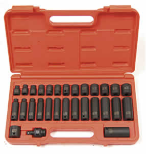 SUNEX TOOLS 3329 29 Piece .425 Inch Drive Master Metric Impact Socket Set8-22Mm