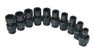 SUNEX TOOLS 3657 10 Piece .425 Inch Drive Swivel Impact Socket Set 10-19Mm