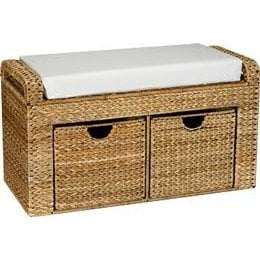 Home Essentials ML-6688 Banana Leaf Natural-Storage Seat with Cushion - 2 drawers