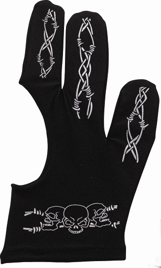 Billiard Glove - Cue And Case BG-3-L Large Black Pro Series Billiard Glove With Barbed Wire And Skulls