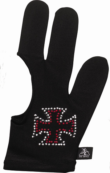 Billiard Glove - Cue And Case BG-4-M Pro Series Billiard Glove With Red Rhinestone Iron Cross - Medium - Black