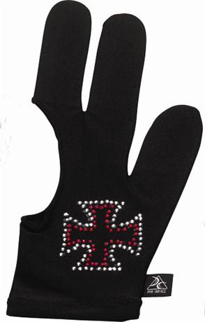 Billiard Glove - Cue And Case BG-4-L Pro Series Billiard Glove With Red Rhinestone Iron Cross - Large - Black
