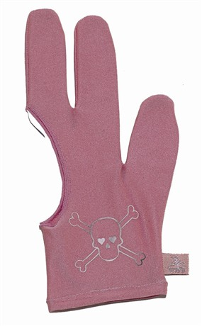 Billiard Glove - Cue And Case BG-8-S Small Pink Pro Series Billiard Glove With Silver Skull And Crossbones