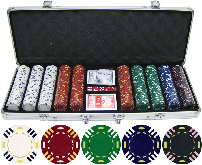 13.5g 500pc Triple Striped Clay Poker Chip Set JPC026