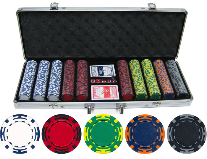 500 Piece 14g Z Striped Clay Poker Chips