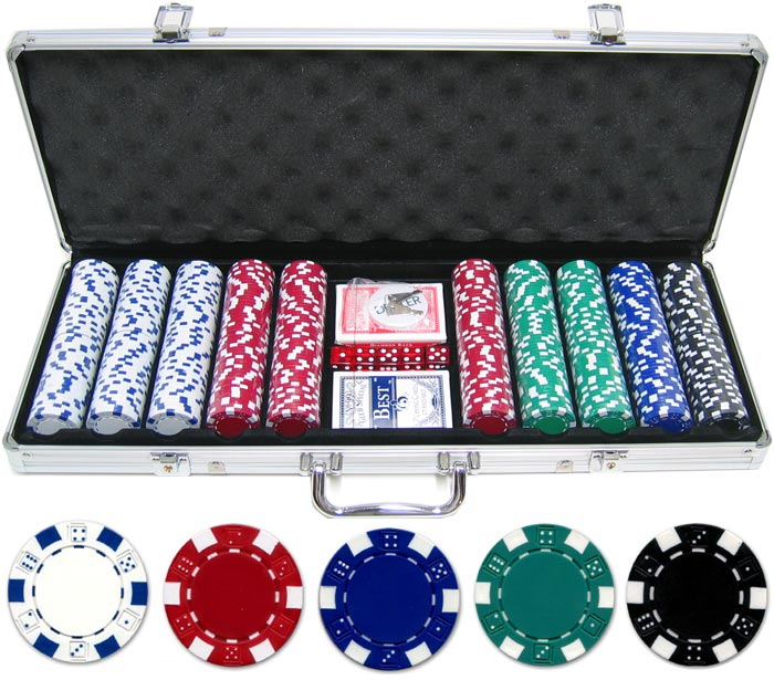 JP Commerce 500-DC Dice and Crowns 500pc 11.5g Poker Chip Set