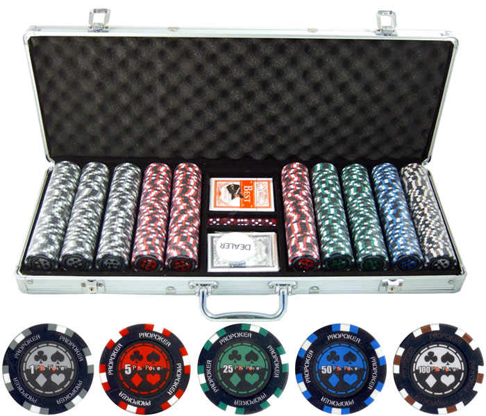 500pc  Pro Poker 13.5g Clay Poker Set