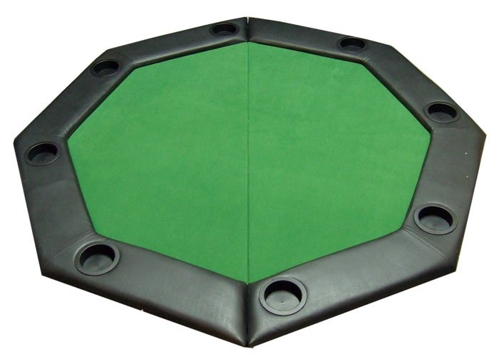 Padded Octagon Folding Poker Table Top with Cup Holders - Green JPC048