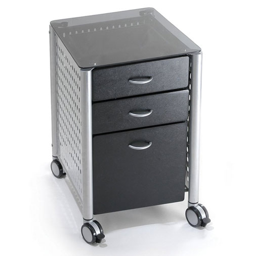 Black Glass Filing Cabinet