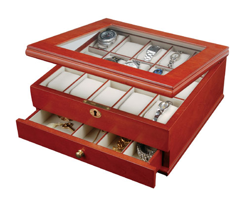 Mele 0067711 Watch Box for 15  with Viewing Window in Cherry