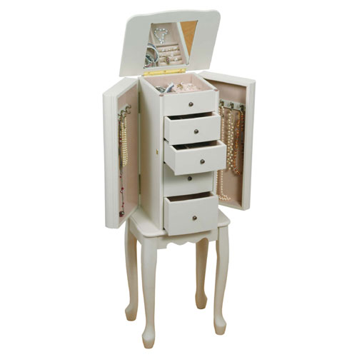 Mele & Co. 0087811 Ivory Jewelry Armoire in Slim Design