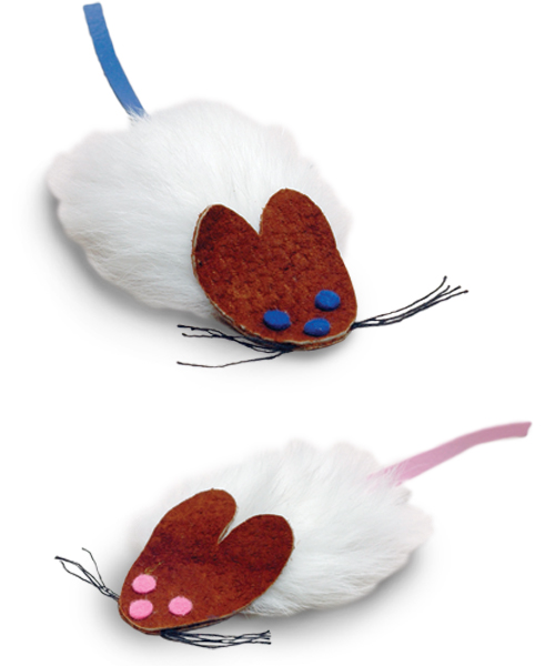 Smart Cat 3879 Frank and Fifi - Pink and Blue Flat Mice - 2 Pack - Case of 6