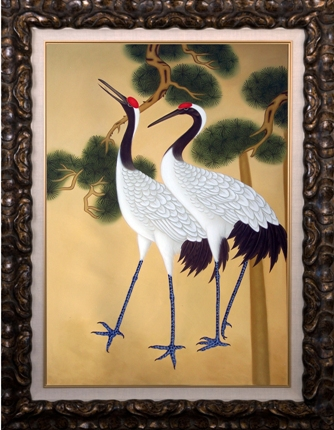 Artmasters Collection KM90109B-8610NL Asian Cranes II Framed Oil Painting