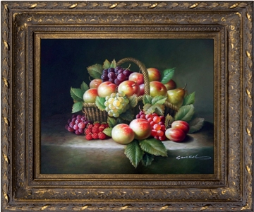 Artmasters Collection PA89586-668DG Basket of Fruit Framed Oil Painting