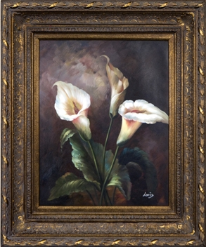 Artmasters Collection YK64021B-668DG Calle Lillies I Framed Oil Painting