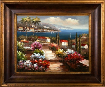 Artmasters Collection KM89512-40G Coastal Terrace II Framed Oil Painting - 47 x 35 Inch
