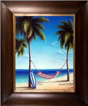Artmasters Collection A83186-WT54 Cool Hammock III Framed Oil Painting